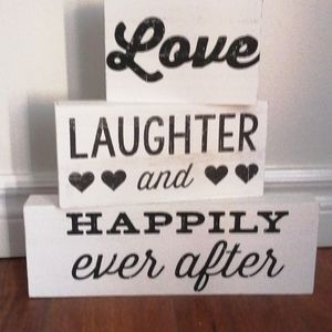 """love, laughter & happily ever after"" block decor"